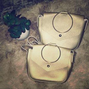 NWT gold 2-in-1 clutch/ Crossbody bag